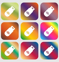 Usb Icon sign Nine buttons with bright gradients vector