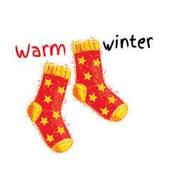 Warm winter woolen red socks with yellow stars vector