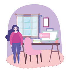 Working remotely woman standing in room with desk vector