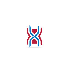 x initial shape line colored logo vector image