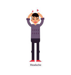 young man having headache and holding his head vector image