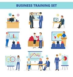 Business Training Workshops Flat Icons Set vector image vector image