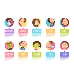 cartoon sickness child icon set vector image