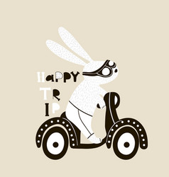 cute bunny on scooter childish print vector image vector image