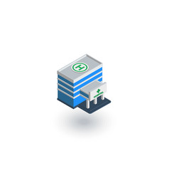 hospital building isometric flat icon 3d vector image