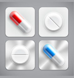 medicine pills collection vector image vector image