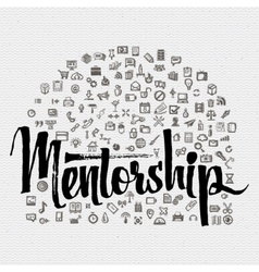 Mentorship lettering concept and business icons vector image