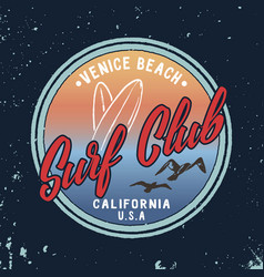 summer surf club retro badge vector image