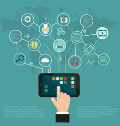 tablet internet network cloud of application vector image vector image