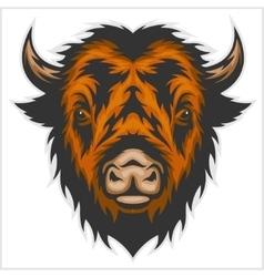 buffalo head isolated on white vector image vector image