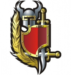 coat of arms with helmet vector image vector image