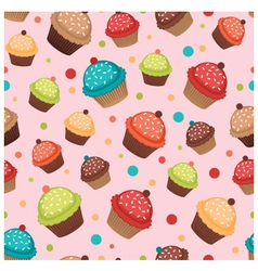 Colorful cupcakes pattern vector image