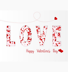 love lettering with hearts flying happy vector image