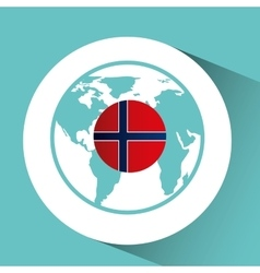 norway flag pin map design icon vector image vector image