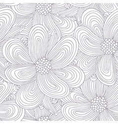 Outline seamless pattern with doodle flowers vector image vector image
