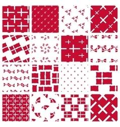 Set of stylized patterns of danish flag vector