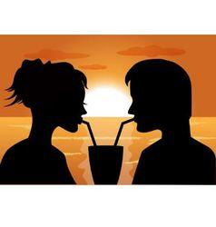 silhouettes of a couple in love at sunset vector image vector image