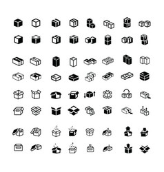 box icons set 64 item vector image