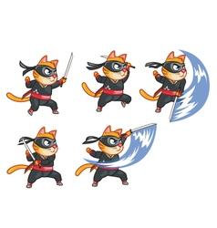 Cat ninja attacking sprite vector