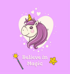 cute postcard with magical head of unicorn on vector image