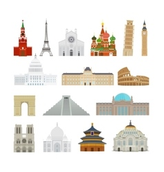 Monuments flat icons vector image vector image
