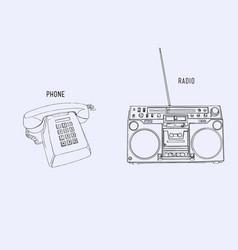 sey of retro phone and radio sketch line art vector image