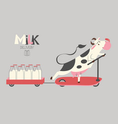 cheerful cow delivers milk bottles on a scooter vector image