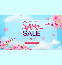 spring sale banner with flowers blue sky hand vector image