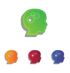 Thinking head sign Colorfull applique icons set vector image vector image