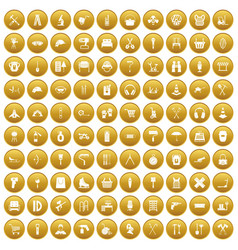 100 outfit icons set gold vector