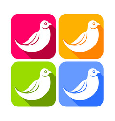 Abstract dove bird color rounded square icons vector