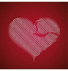Abstract heart icon wave lines vector