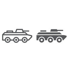 amphibious vehicle line and glyph icon transport vector image