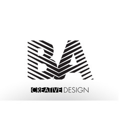 Ba b a lines letter design with creative elegant vector
