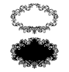 Baroque floral frame in two different styles vector