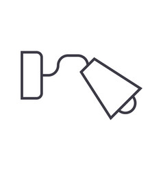 Bedside lamp line icon sign vector