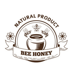 bee honey natural product label packaging design vector image