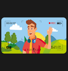 blogger man records video blog vlog vector image