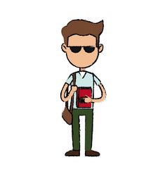 Boy cartoon student character with sunglasses book vector