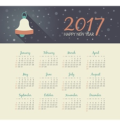 Calendar 2017 year with christmas bell vector