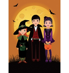 Children in costume Halloween vector image