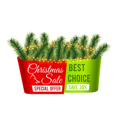 christmas sale banner christmas tree branches vector image
