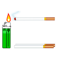 cigarette and gas lighter vector image