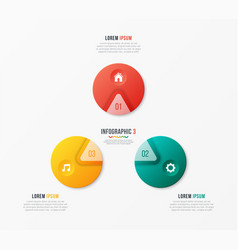 circle chart template with 3 options vector image