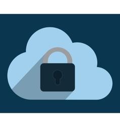 Cloud padlock cyber security system design vector