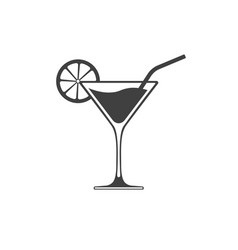 cocktail glass icon with wave on liquid vector image
