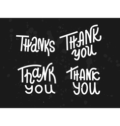 Collection of four custom pieces thank you words vector