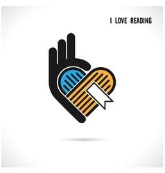 Creative book and heart abstract logo design vector