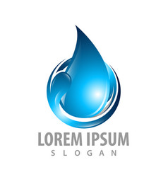Curl wave water drop logo concept design symbol vector