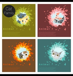 Cute animal family background with Cats 5 vector
